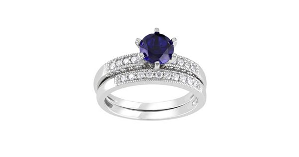 Diamond Rings For Sale Kohls: Lab-Created Sapphire And Diamond Engagement Ring Set In