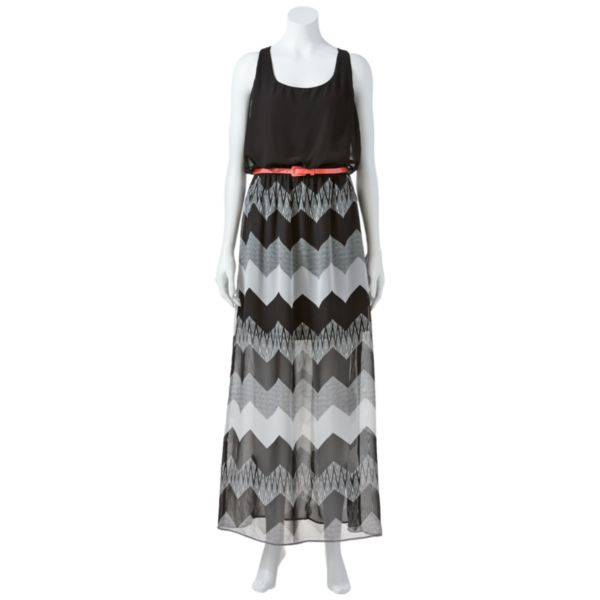 Juniors' City Triangles Chevron Chiffon Maxi