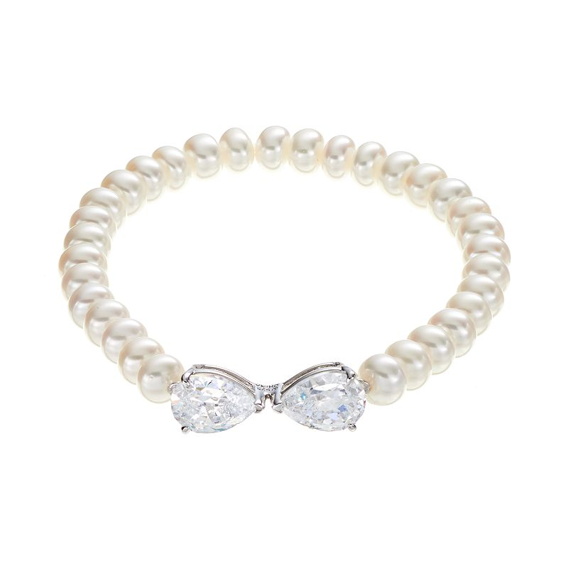 Freshwater by HONORA Sterling Silver Freshwater Cultured Pearl Bow Stretch Bracelet - Made with Swarovski Cubic Zirconia