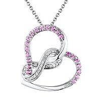Two Hearts Forever One Lab-Created Pink Sapphire & Diamond Accent Sterling Silver Infinity Heart Pendant Necklace