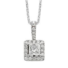 18k White Gold 1/2-ct. T.W. IGL Certified Colorless Diamond Halo Pendant by