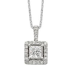 18k White Gold 1-ct. T.W. IGL Certified Colorless Diamond Halo Pendant by