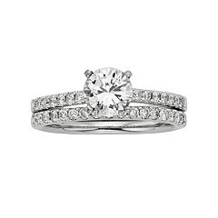 IGL Certified Colorless Diamond Engagement Ring Set in 18k White Gold (1 1/2 ct. T.W.) by