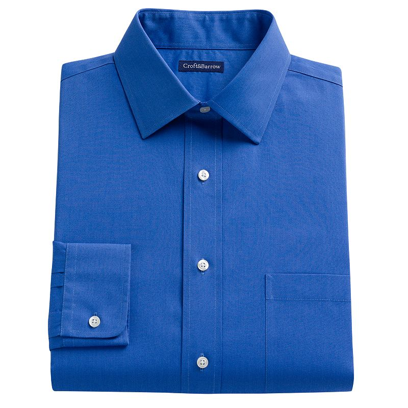 Men's Croft & Barrow® Classic-Fit Solid No-Iron Spread Collar Dress Shirt