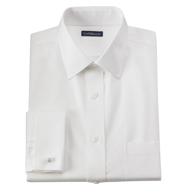 Men's Croft & Barrow® Fitted Solid French Cuff No-Iron Spread-Collar Dress Shirt