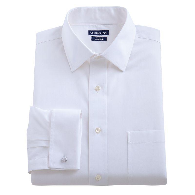 Men's Croft & Barrow® Slim-Fit French Cuff No-Iron Spread-Collar Dress Shirt