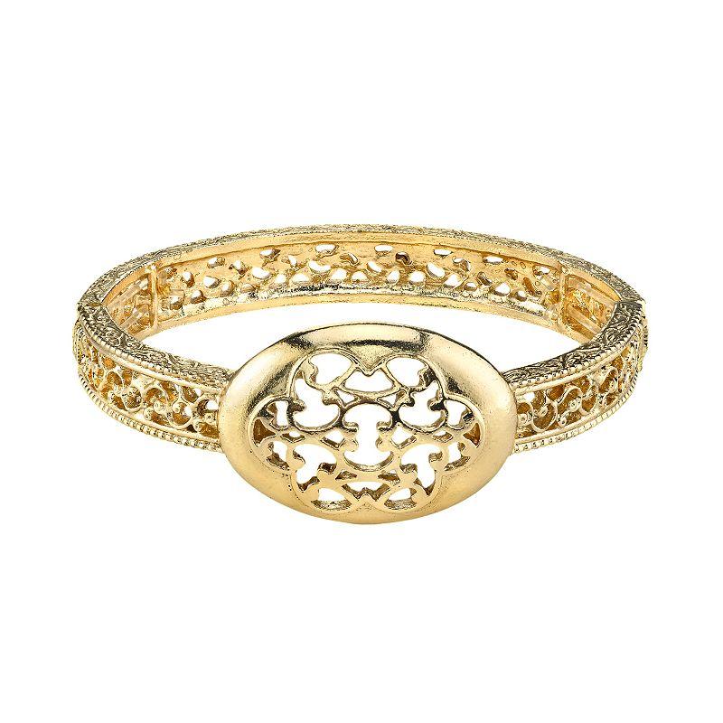 1928 Gold Tone Filigree Stretch Bracelet