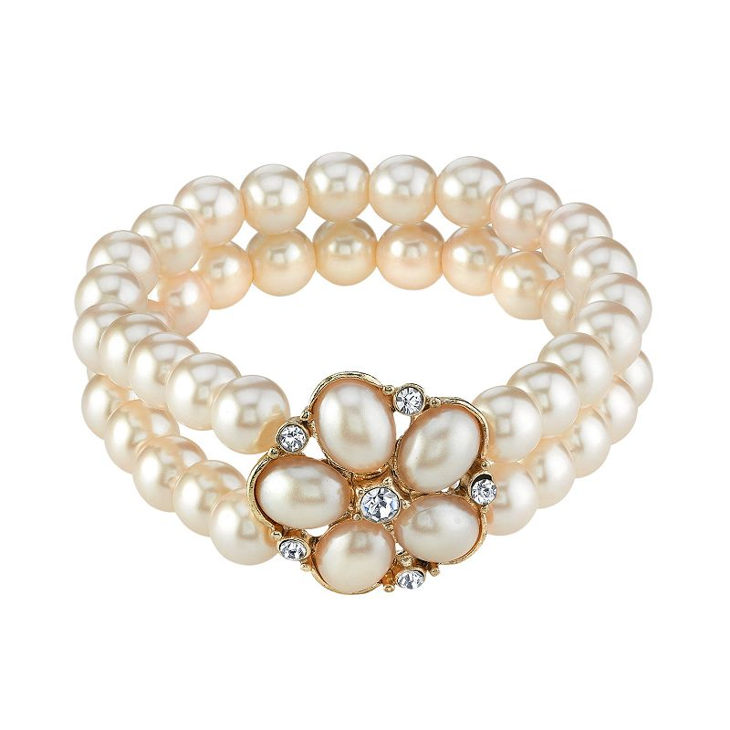 1928 Gold Tone Simulated Crystal and Simulated Pearl Multistrand Stretch Bracelet