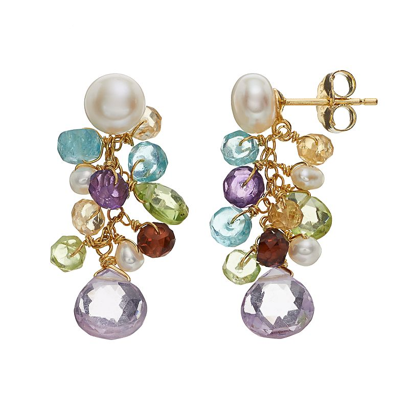 18k Gold Over Silver Gemstone and Cultured Pearl Cluster Drop Earrings
