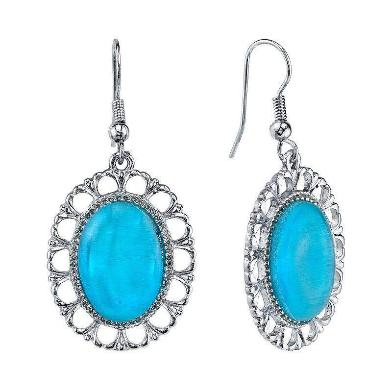 1928 Cabochon Textured Openwork Oval Drop Earrings