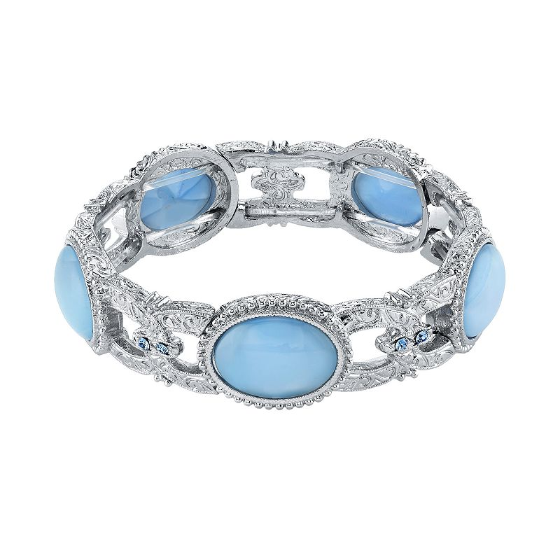1928 Simulated Crystal and Cabochon Stretch Bracelet