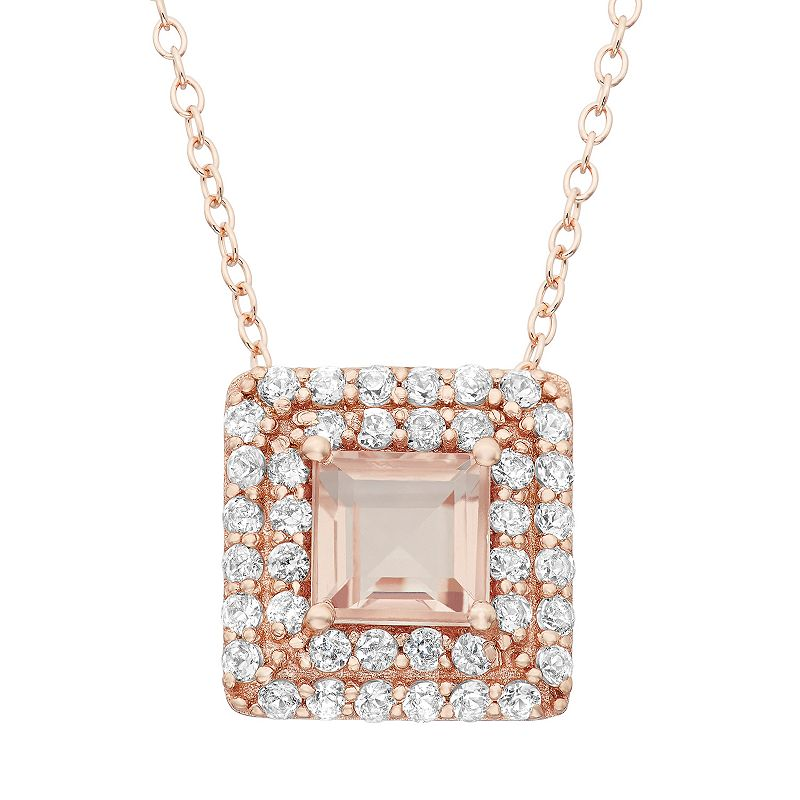 Pink Quartz Doublet and Lab-Created White Sapphire 14k Rose Gold Over Silver Square Halo Pendant Necklace