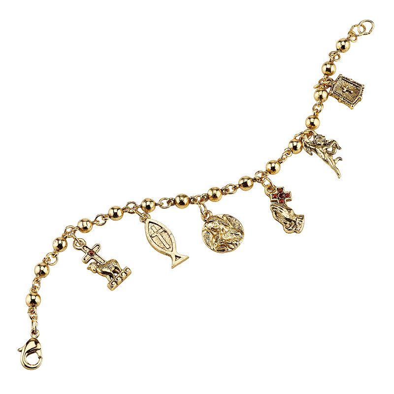 Symbols of Faith Gold Tone Simulated Crystal Cross Charm Bracelet