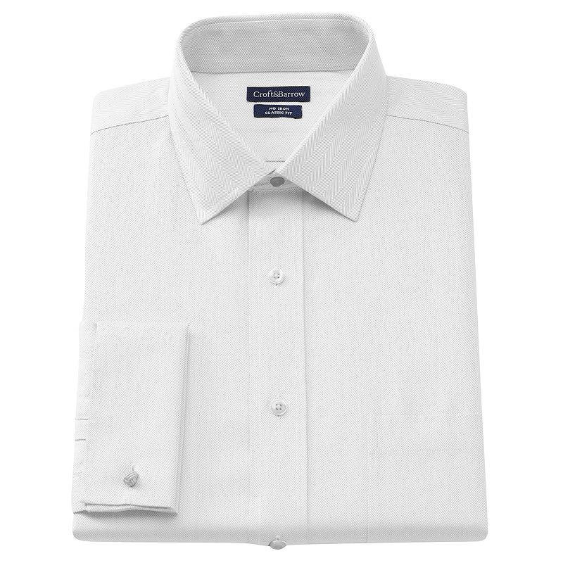 Big & Tall Croft and Barrow Classic-Fit Herringbone French Cuff No Iron Spread-Collar Dress Shirt