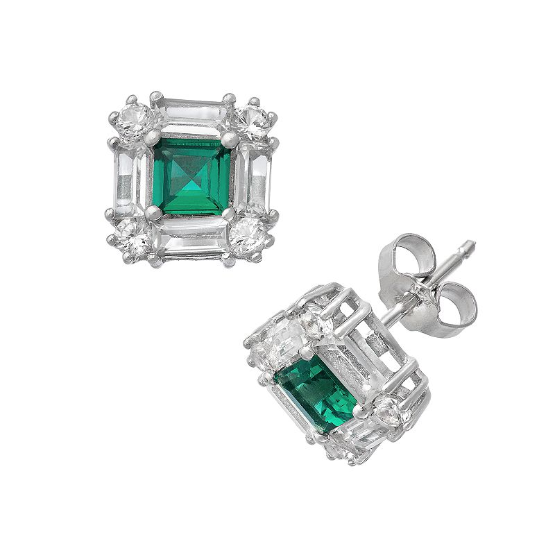 Sterling Silver Lab-Created Emerald and Lab-Created White Sapphire Square Halo Stud Earrings