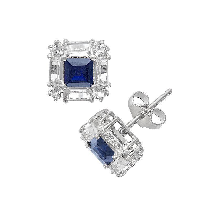 Sterling Silver Lab-Created Blue and White Sapphire Square Halo Stud Earrings