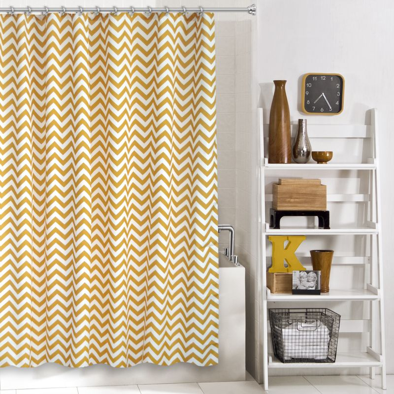 Colordrift Zigzag Fabric Shower Curtain