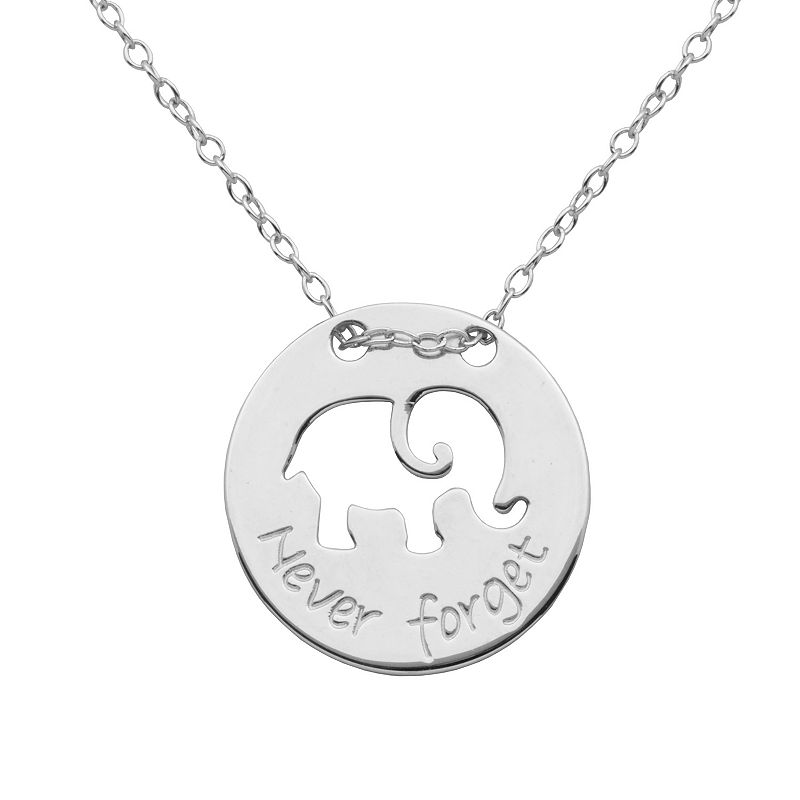 Silver-Plated '' Never Forget '' Elephant Pendant