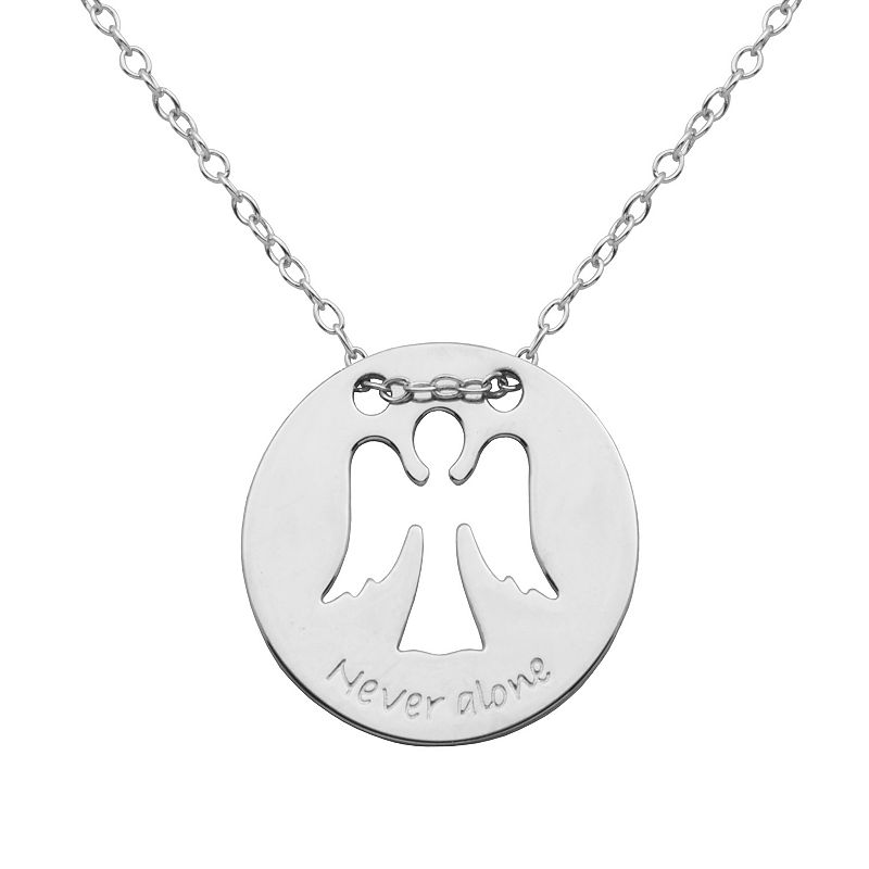 Silver-Plated '' Never Alone'' Angel Pendant