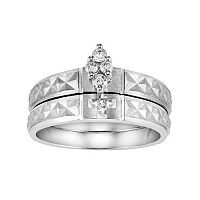 Love Always Diamond Cross Engagement Ring Set in Sterling Silver (1/8 Carat T.W.)