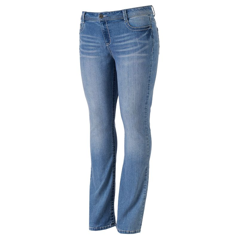 Juniors' Plus Size Mudd® Light Wash Skinny Bootcut Jeans
