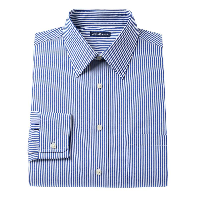 Men's Croft & Barrow® Classic-Fit Striped Easy-Care Point-Collar Dress Shirt
