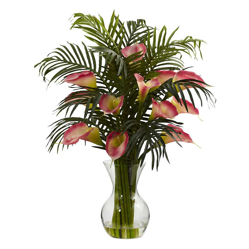 nearly natural Calla Lily and Palm Floral Arrangement