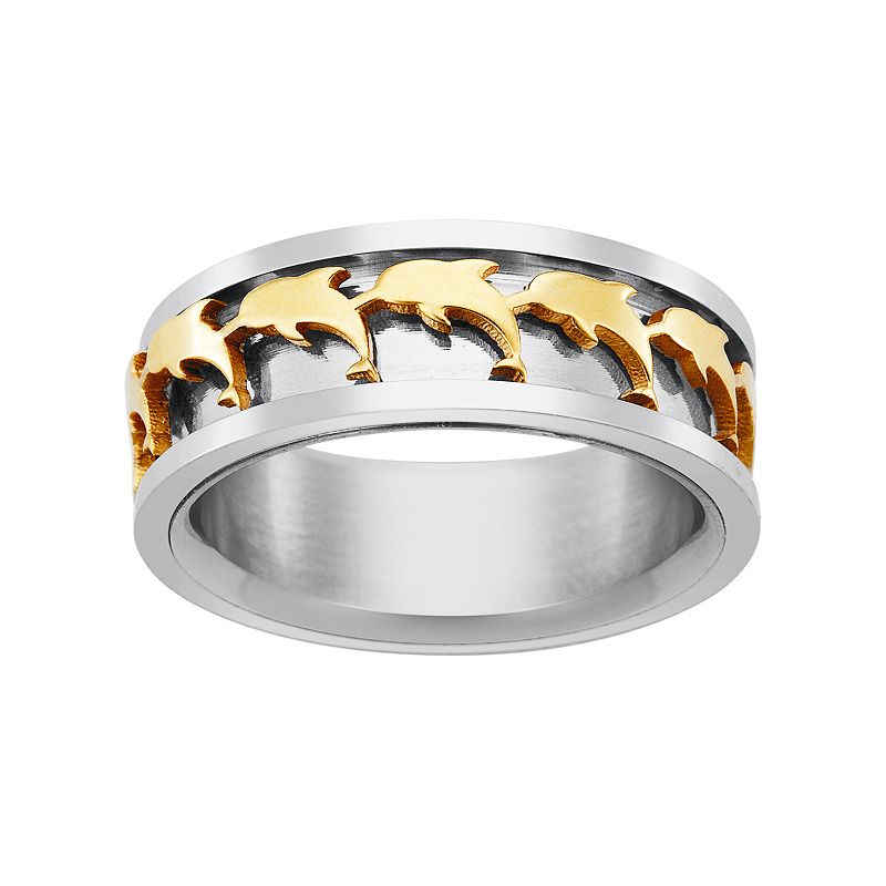 Yellow Ion-Plated Stainless Steel and Stainless Steel Dolphin Spinner Band - Men