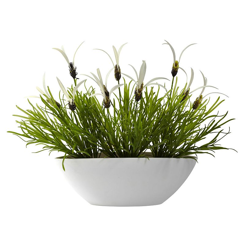 nearly natural Grass and White Floral Arrangement - Indoor and Outdoor