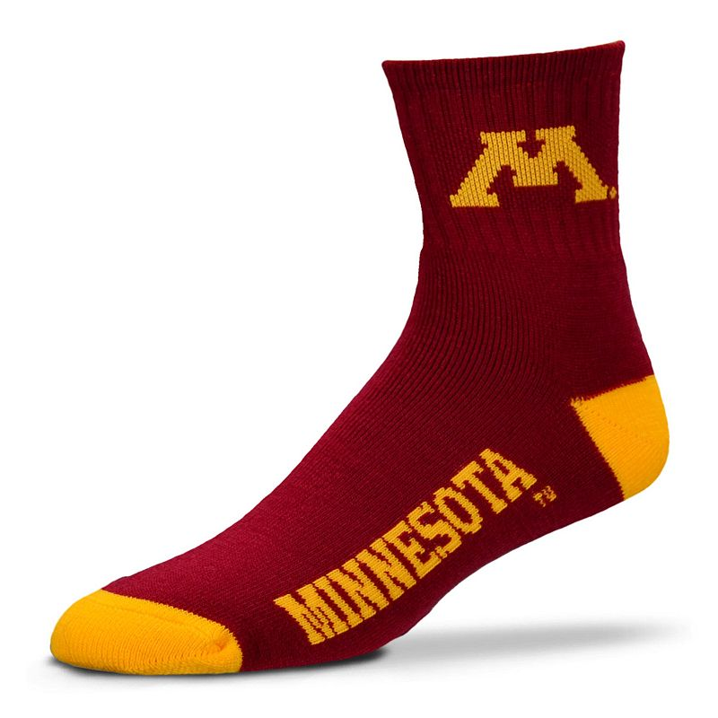 Adult For Bare Feet Minnesota Golden Gophers Team Color 1/4-Crew Socks