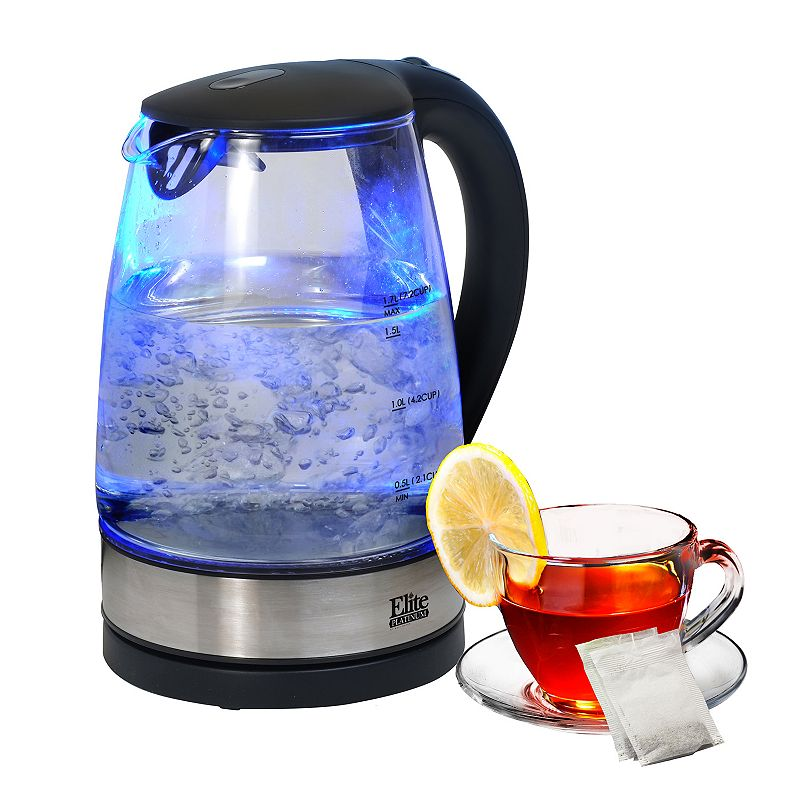Elite Platinum 1.7L Cordless Electric Glass Kettle