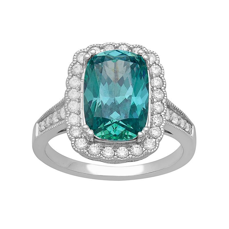 Emotions Sterling Silver Scalloped Rectangular Halo Ring - Made with Swarovski Zirconia
