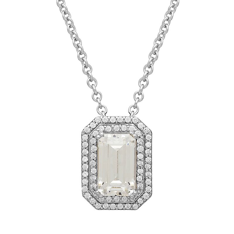 Emotions Sterling Silver Tiered Octagonal Halo Pendant - Made with Swarovski Zirconia