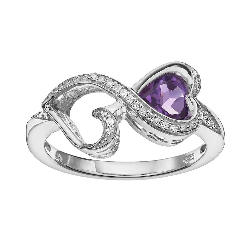 Love Is Forever Amethyst and Diamond Accent Sterling Silver Double Heart Ring