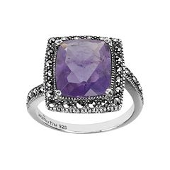 Lavish by TJM Sterling Silver Amethyst Halo Ring Made with Swarovski Marcasite by