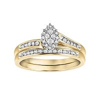 Cherish Always Diamond Bypass Engagement Ring Set in 10k Gold (1/5 Carat T.W.)