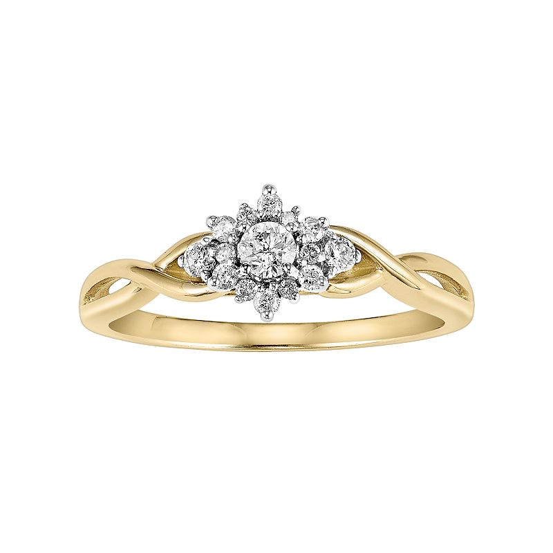 Cherish Always Diamond Flower Engagement Ring in 10k Gold (1/4 Carat T.W.)