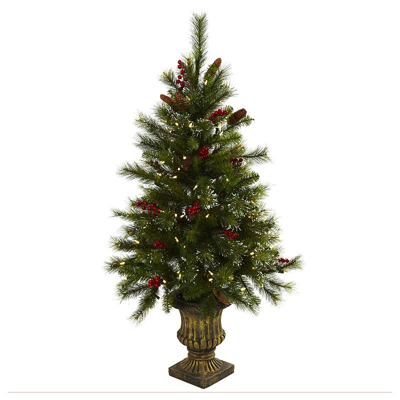 Nearly Natural 4-ft. Potted Pre-Lit Artificial Christmas