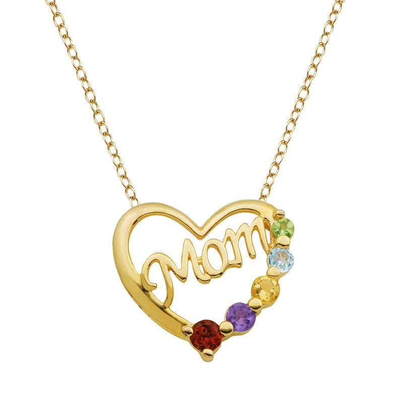18k Gold Over Silver Gemstone Mom Heart Pendant