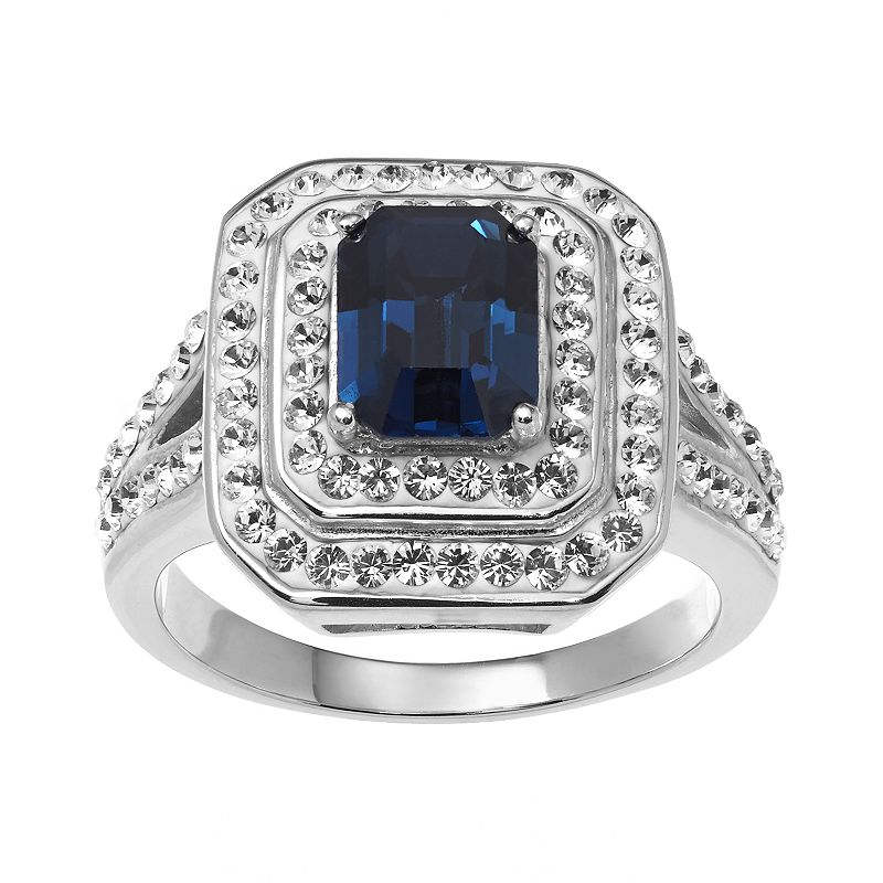 Sterling 'N' Ice Sterling Silver Crystal Tiered Ring - Made with Swarovski Crystals