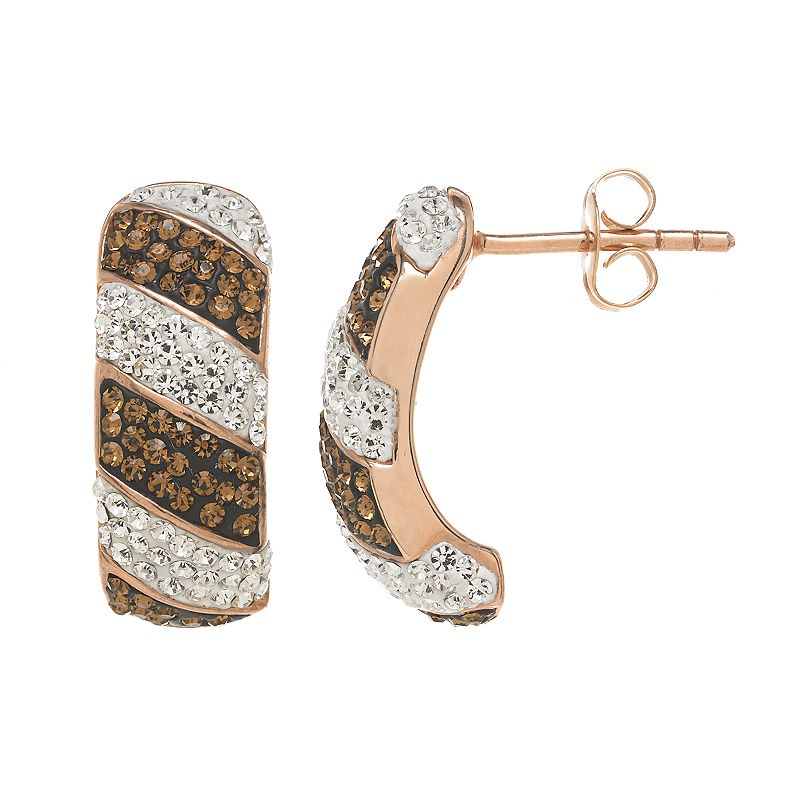 Sterling 'N' Ice 14k Rose Gold Over Silver Crystal Striped J-Hoop Earrings - Made with Swarovski Crystals
