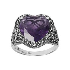Lavish by TJM Sterling Silver Amethyst Heart Ring Made with Swarovski Marcasite by