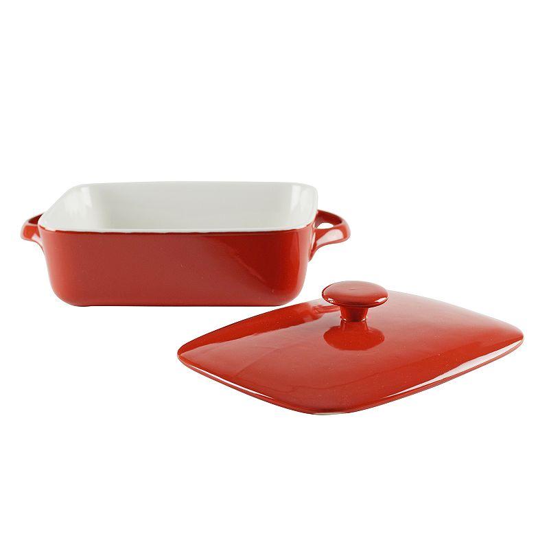 10 Strawberry Street Sienna Red 2-qt. Covered Rectangular Baking Dish