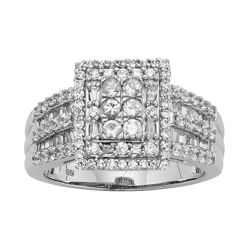10k White Gold 1 ct. T. W. Diamond Square Halo Ring