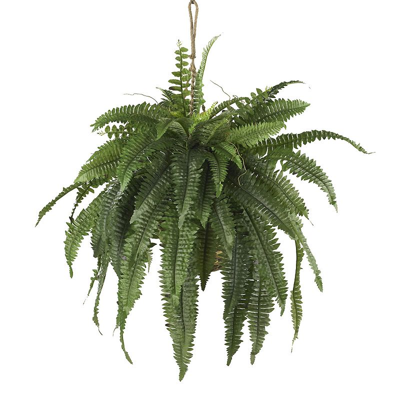 Nearly Natural Boston Fern Hanging Plant Green Overall | Clothing