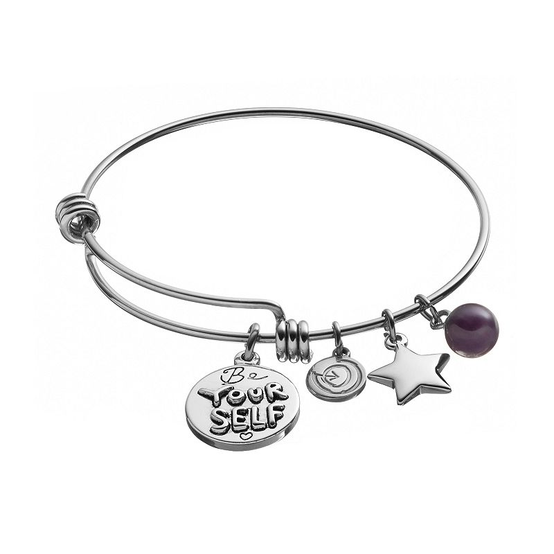 love this life Amethyst Stainless Steel and Silver-Plated ''Be Yourself'' Star Charm Bangle Bracelet