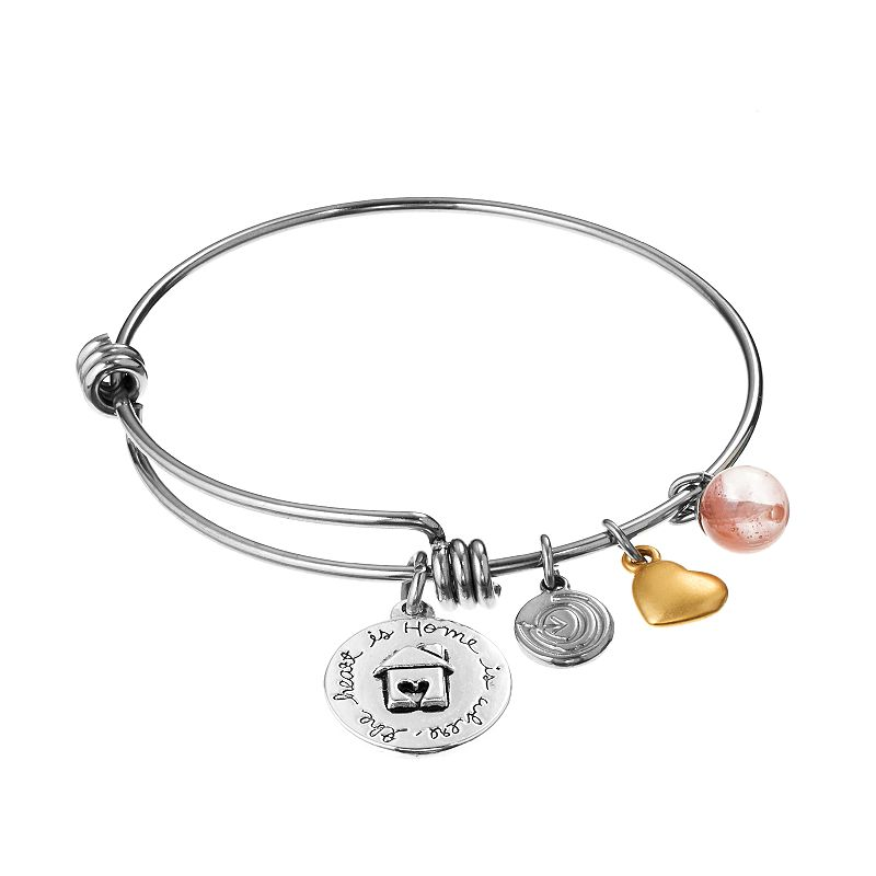 love this life Stainless Steel, Silver-Plated and Gold Tone Cherry Quartz ''Home Is Where The Heart Is'' and Heart Charm Bangle Bracelet