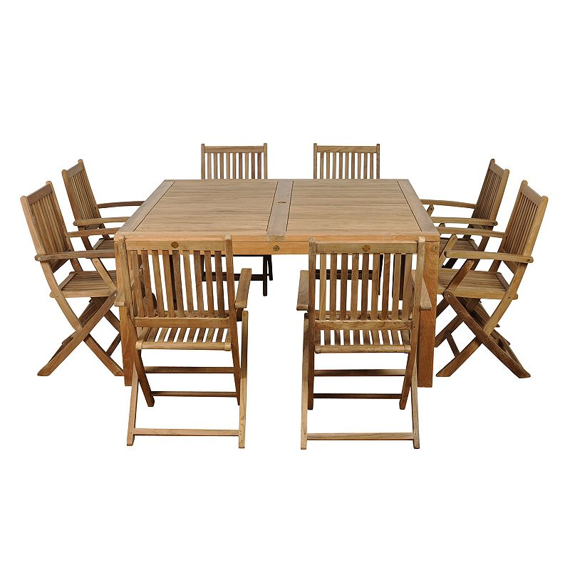 Amazonia Teak Pretoria 9-pc. Square Dining Set - Outdoor