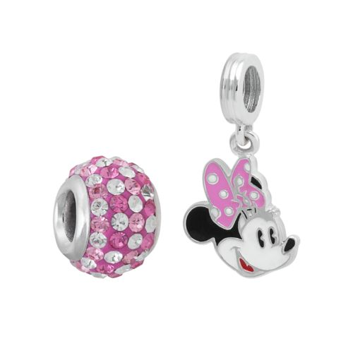 Disney Minnie Mouse Sterling Silver Crystal Bead and Charm Set