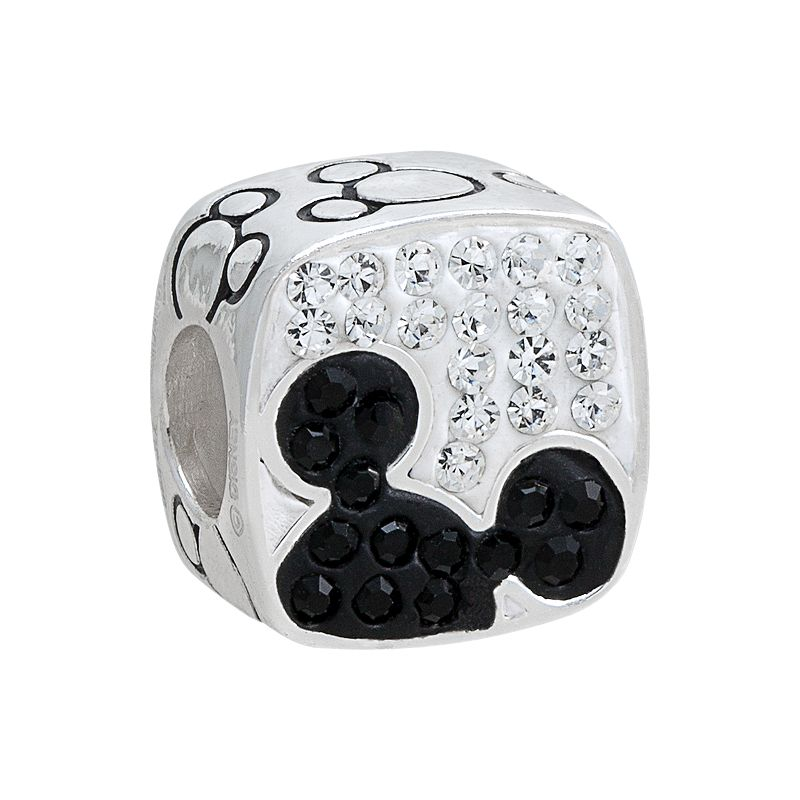 Disney Mickey Mouse Crystal Sterling Silver Square Bead